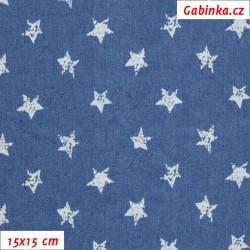 Riflovina BA/PES/EL - Hvězdičky na středně modré, šíře 140 cm, 10 cm, 2. jakost