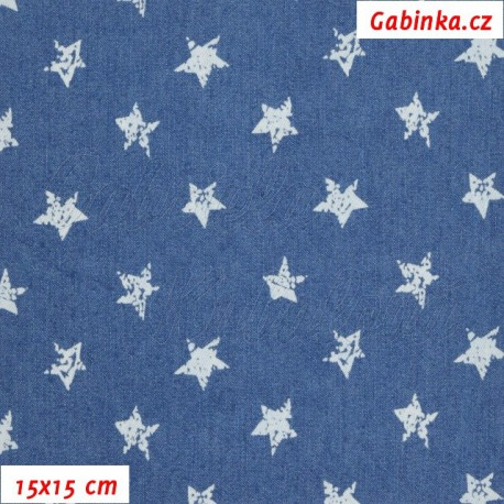 Riflovina - Hvězdičky na středně modré, 15x15 cm