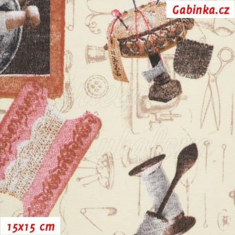 Režné plátno - Krejčovské potřeby s růžovou, 15x15 cm
