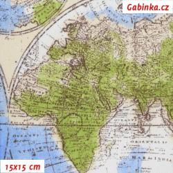 Režné plátno - Mapy globus, šíře 140 cm, 10 cm