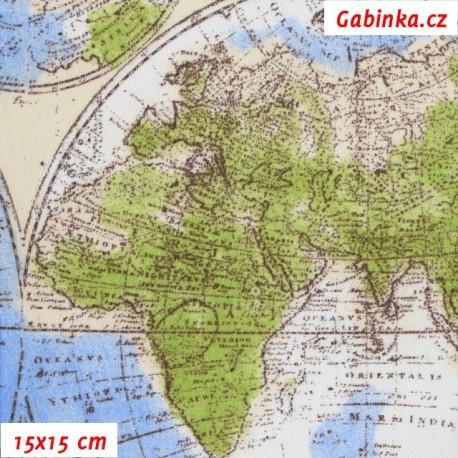 Režné plátno - Mapy globus, 15x15 cm