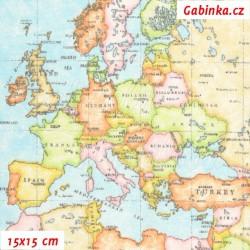 Režné plátno - Mapa světa, šíře 140 cm, 10 cm