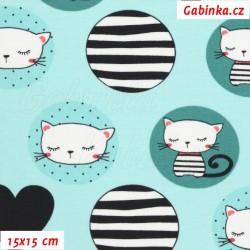 Úplet s EL - Kočičky v kolečkách na mentolové, šíře 145 cm, 10 cm