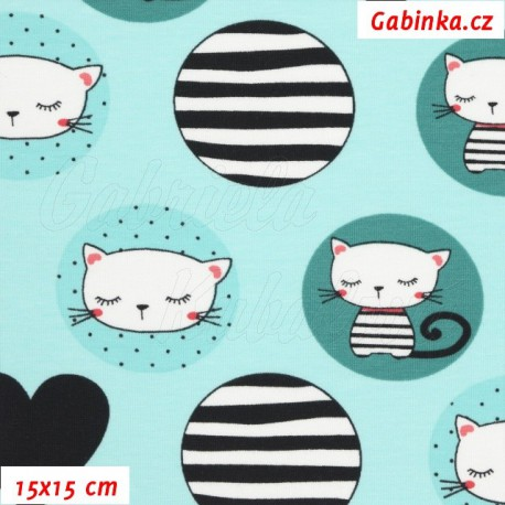 Látka úplet s EL - Kočičky v kolečkách na mentolové, 15x15 cm