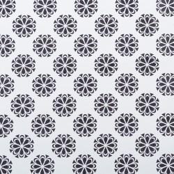 Koženka DSOFT 005 - Mandaly černé na bílé, šíře 135 cm, 10 cm