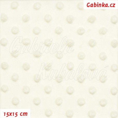 Plyš MINKY, puntíky smetanové, 15x15cm