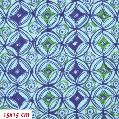 Látka, SKOURA modrozelená, 15x15cm
