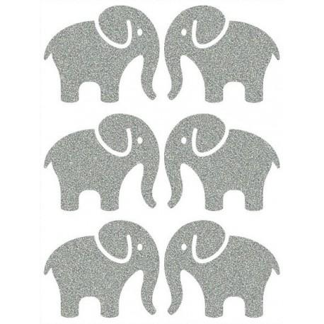 Reflexní nažehlovací potisk - Sloni (6 ks)