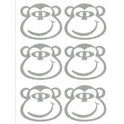 Reflexní nažehlovací potisk - Opice - hlavy - obrys (6 ks)
