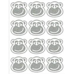 Reflexní nažehlovací potisk - Opice - hlavy malé - výplň (12 ks)