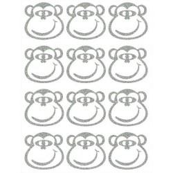 Reflexní nažehlovací potisk - Opice - hlavy malé - obrys (12 ks)