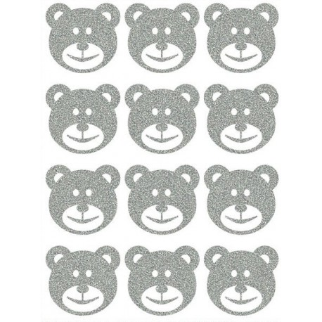 Reflexní nažehlovací potisk - Medvídci - hlavy malé - výplň (12 ks)