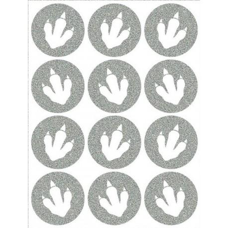 Reflexní nažehlovací potisk - Dinosauří stopy malé výplň (12 ks)