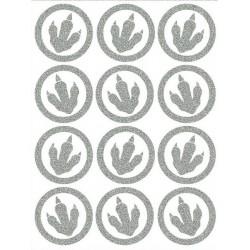 Reflexní nažehlovací potisk - Dinosauří stopy malé - obrys (12 ks)