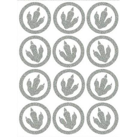 Reflexní nažehlovací potisk - Dinosauří stopy malé obrys (12 ks)