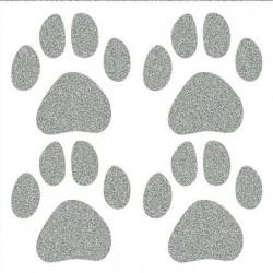 Reflexní nažehlovací potisk - Psí stopy velké (4 ks)
