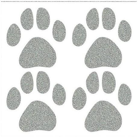 Reflexní nažehlovací postisk, Psí stopy velké, 4 ks