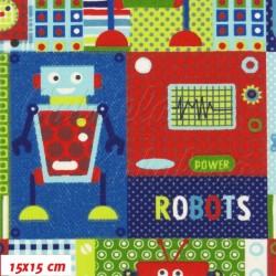 Plátno, Roboti červená modrá zelená, 15x15cm