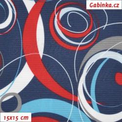 Kočárkovina, Energie červená modrá a bílá na tm. modré, 15x15cm