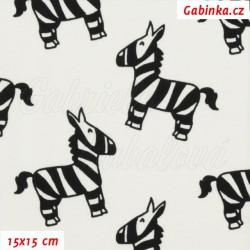 Úplet s EL, Zebry černé na přírodní bílé, 15x15cm