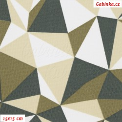 Kočárkovina MAT, Trojúhelníky béžové, bílé a šedé, šíře 160 cm, 10 cm, Atest 1