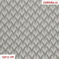 Kočárkovina žakár, Prokládaný cik-cak stříbrný a šedý, 15x15 cm