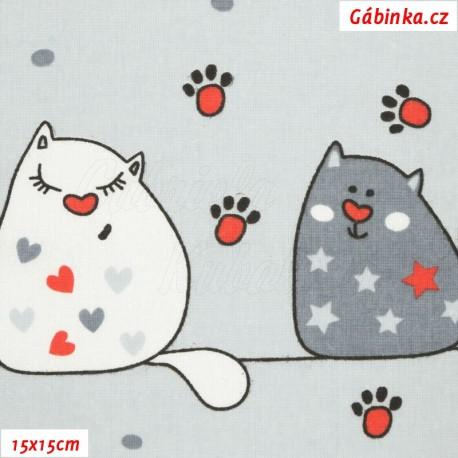 Plátno - Zamilované kočky na modrošedé, 15x15 cm