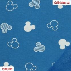 Warmkeeper - Mouse hlavy bílé na modré, šíře 160 cm, 10 cm