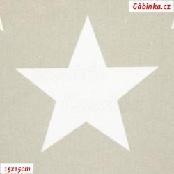 Plátno - Hvězdy 12 cm bílé na světle šedé, šíře 160 cm, 10 cm