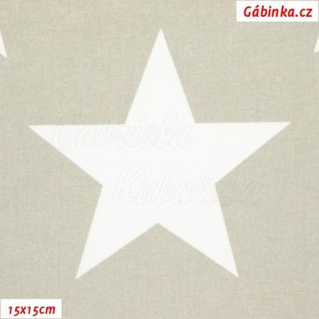 Látka, plátno - Hvězdy 12 cm bílé na šedobéžové, 15x15 cm