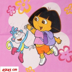 Zbytek - Látka plátno - Dora s opičkou na růžové II. jakost, šíře 220 cm, 2,6 m
