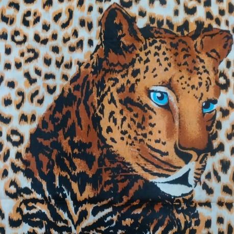 Závěs - Leopard na smetanové, detail