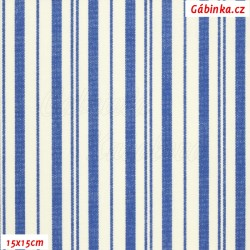 Plátno - Kolekce modrotisk - Modré proužky na bílé, 15x15 cm