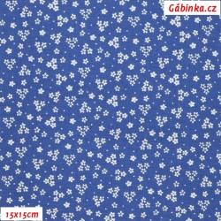 Plátno - Kolekce modrotisk - Drobné kytičky, 15x15 cm