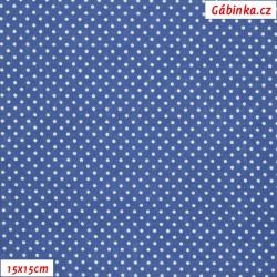 Plátno - Kolekce modrotisk - Malé puntíky 2mm na modré, šíře 150 cm, 10 cm