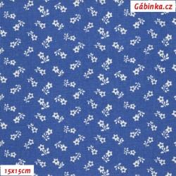 Plátno - Kolekce modrotisk - Rozsypané kytičky na modré, šíře 150 cm, 10 cm