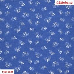 Plátno - Kolekce modrotisk - Pampeliškové chmýří na modré, šíře 150 cm, 10 cm