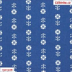 Plátno - Kolekce modrotisk - Kytičky v řadě na modré, šíře 150 cm, 10 cm