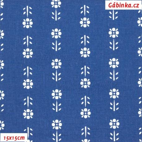 Plátno - Kolekce modrotisk - Kytičky v řadě, 15x15 cm