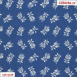 Plátno - Kolekce modrotisk - Růžičky na modré, šíře 150 cm, 10 cm