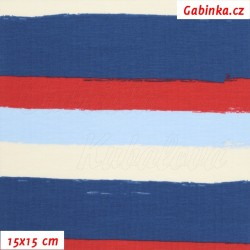 Úplet s EL - Široké pruhy červené, modré a křídové (2 cm) , šíře 150 cm, 10 cm