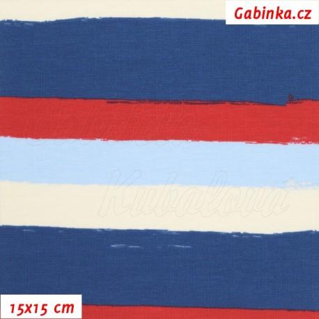 Látka úplet s EL - Široké pruhy červené, modré a bílé (2 cm) , 15x15 cm