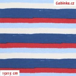 Úplet s EL - Střední pruhy červené, modré a křídové (1 cm), šíře 150 cm, 10 cm