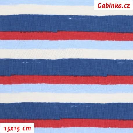 Látka úplet s EL - Střední pruhy červené, bílé (1 cm) a modré (2 cm) , 15x15 cm