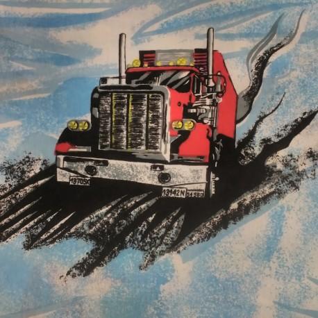 Látka, plátno - Kamiony na modré, šíře 140 cm, detail