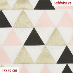 Teplákovina s EL, Trojúhelníky 45mm zlaté černé a růžové na bílé, 15x15cm