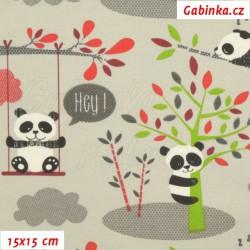 Zbytek - Látka úplet s EL - Hravé pandy na šedé, šíře 177 cm, 1,2 m