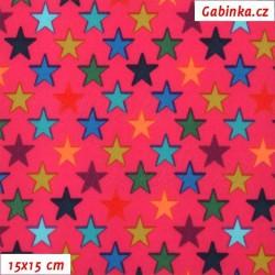 Látka softshell - Barevné hvězdičky na tmavě růžové, 15x15 cm
