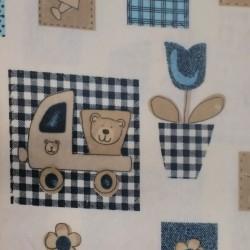 Látka, flanel - Medvídci v modrých čtvercích na smetanové, šíře 155 cm, 10 cm