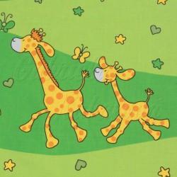 dětské látky metráž - zelené žirafy žluté